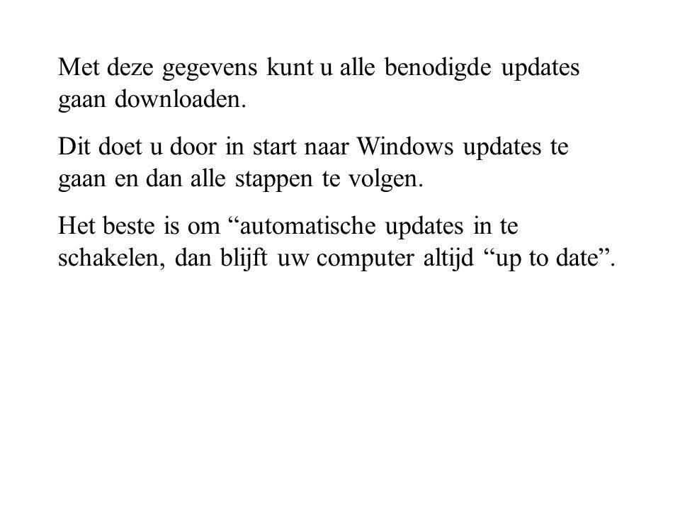 Met deze gegevens kunt u alle benodigde updates gaan downloaden. Dit doet u door in start naar Windows updates te gaan en dan alle stappen te volgen.