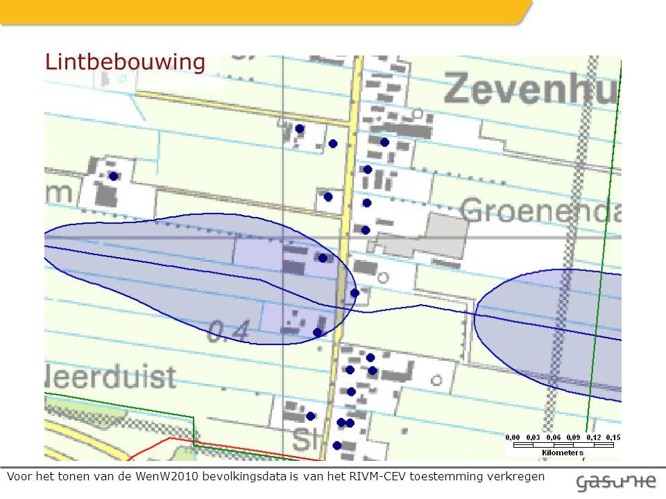 Lintbebouwing Voor het tonen van de WenW2010 bevolkingsdata is van het RIVM-CEV toestemming verkregen