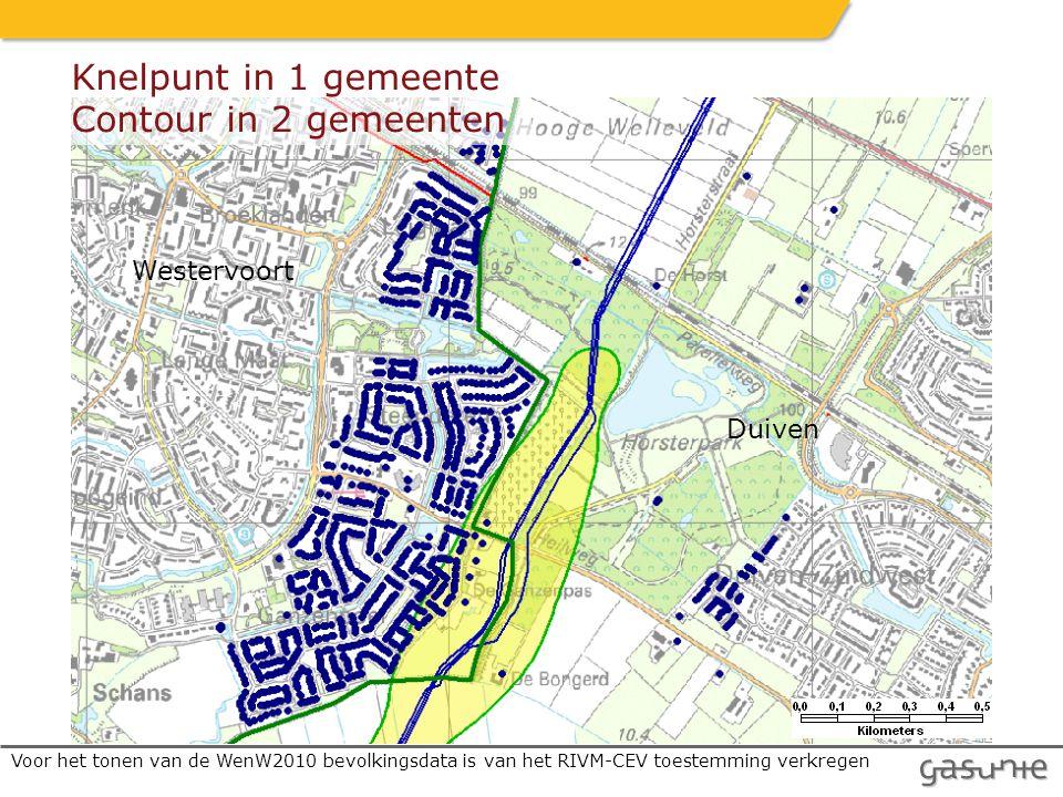 Westervoort Duiven Knelpunt in 1 gemeente Contour in 2 gemeenten Voor het tonen van de WenW2010 bevolkingsdata is van het RIVM-CEV toestemming verkregen
