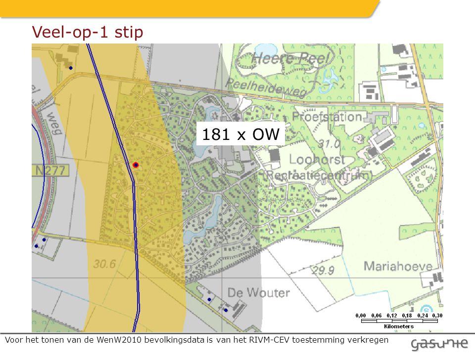 Voor het tonen van de WenW2010 bevolkingsdata is van het RIVM-CEV toestemming verkregen 181 x OW Veel-op-1 stip