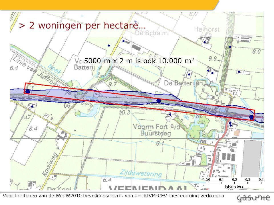 Voor het tonen van de WenW2010 bevolkingsdata is van het RIVM-CEV toestemming verkregen 5000 m x 2 m is ook 10.000 m 2 > 2 woningen per hectare…