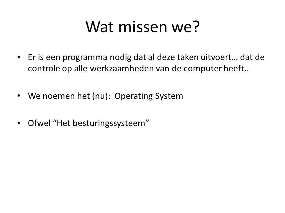 Wat missen we? Er is een programma nodig dat al deze taken uitvoert… dat de controle op alle werkzaamheden van de computer heeft.. We noemen het (nu):