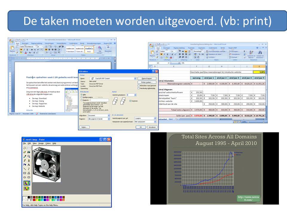 Operating system van een webserver Informatie tonen Informatie opslaan Informatie beveiligen 24 uurs standby Mappenstructuur Database beschikbaar ….