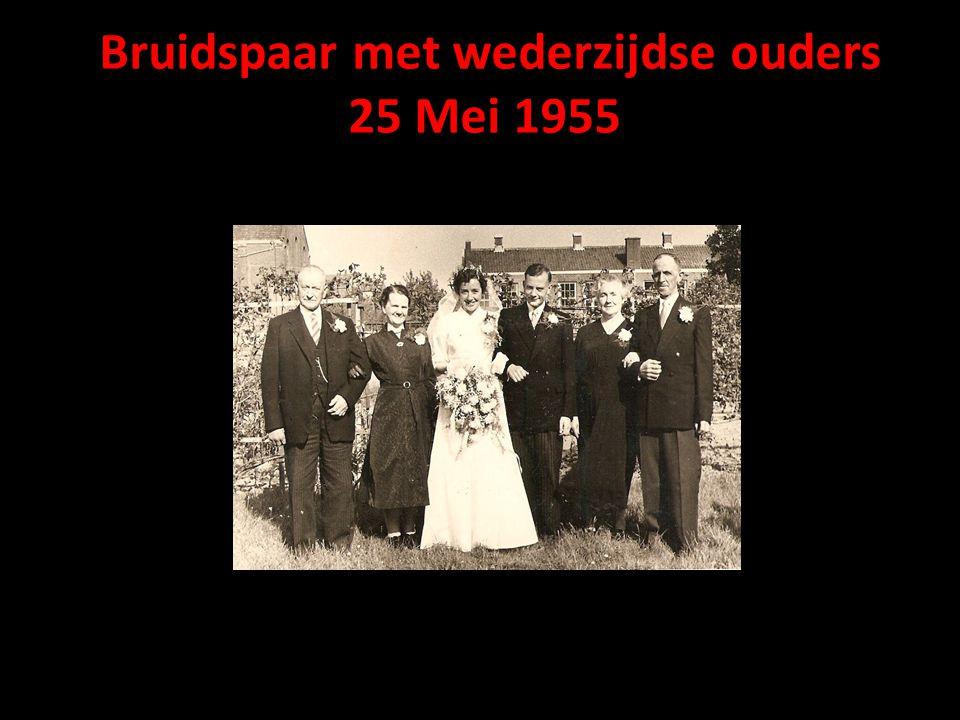 Bruidspaar met wederzijdse ouders 25 Mei 1955