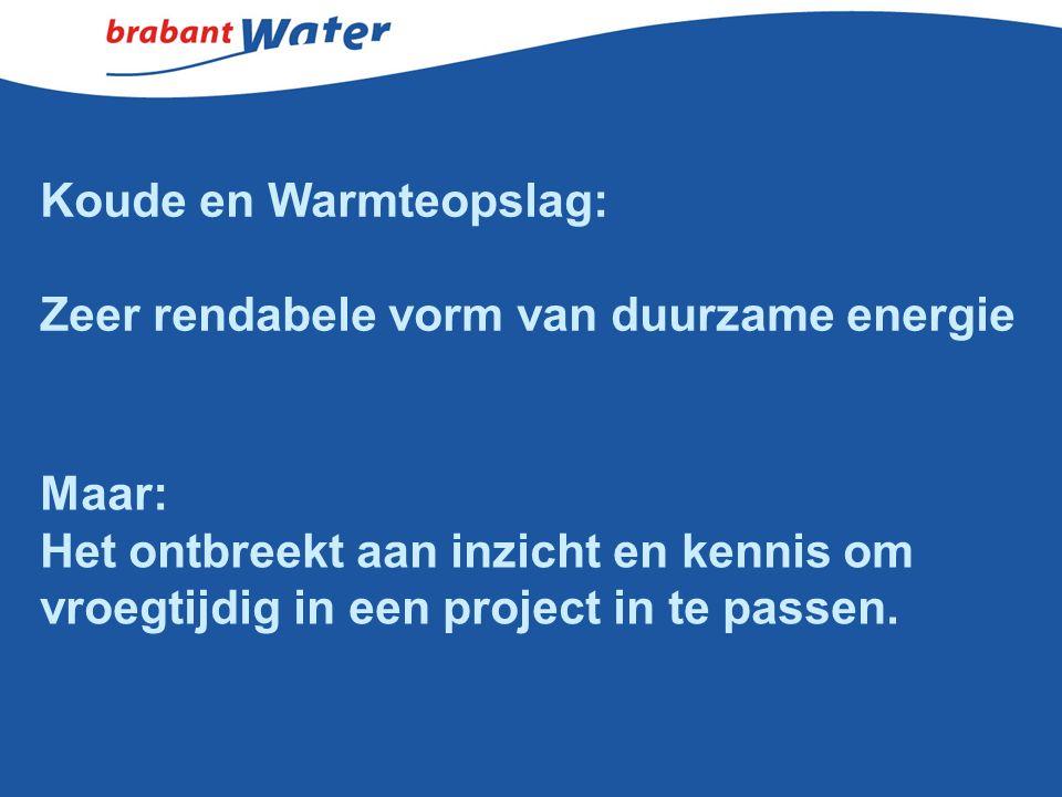 Koude en Warmteopslag: Zeer rendabele vorm van duurzame energie Maar: Het ontbreekt aan inzicht en kennis om vroegtijdig in een project in te passen.