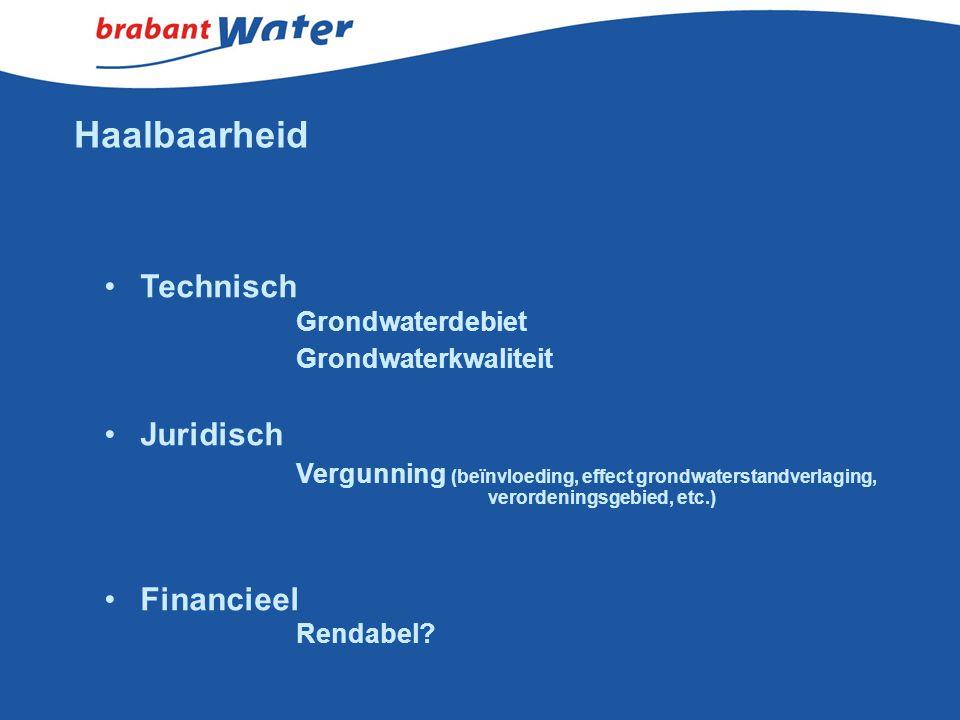 Haalbaarheid Technisch Grondwaterdebiet Grondwaterkwaliteit Juridisch Vergunning (beïnvloeding, effect grondwaterstandverlaging, verordeningsgebied, e