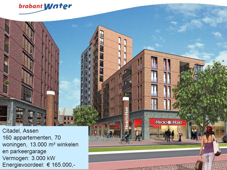 Citadel, Assen 160 appartementen, 70 woningen, 13.000 m² winkelen en parkeergarage Vermogen: 3.000 kW Energievoordeel: € 165.000,-