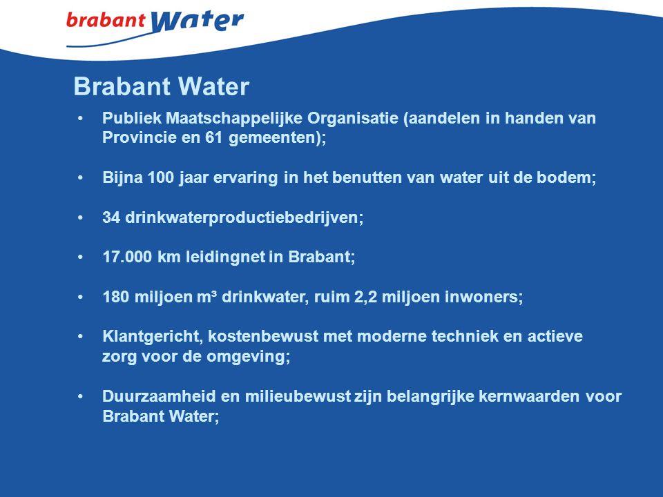 Brabant Water Publiek Maatschappelijke Organisatie (aandelen in handen van Provincie en 61 gemeenten); Bijna 100 jaar ervaring in het benutten van wat