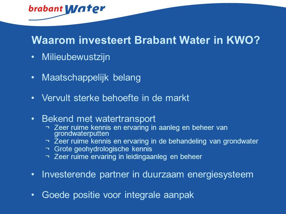 Waarom investeert Brabant Water in KWO? Milieubewustzijn Maatschappelijk belang Vervult sterke behoefte in de markt Bekend met watertransport ¬Zeer ru