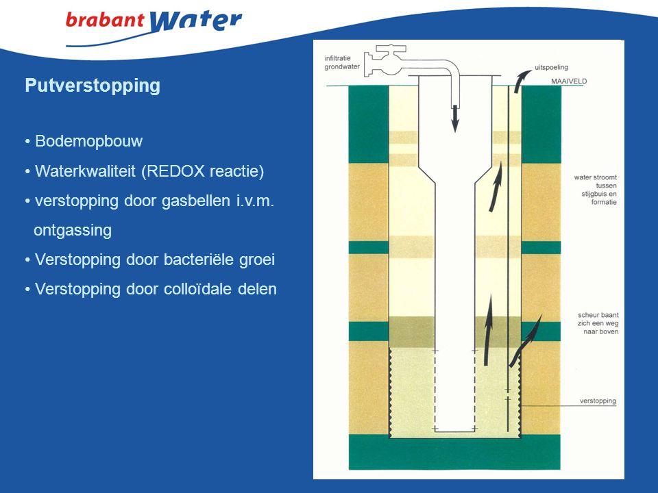 Bodemopbouw Waterkwaliteit (REDOX reactie) verstopping door gasbellen i.v.m. ontgassing Verstopping door bacteriële groei Verstopping door colloïdale
