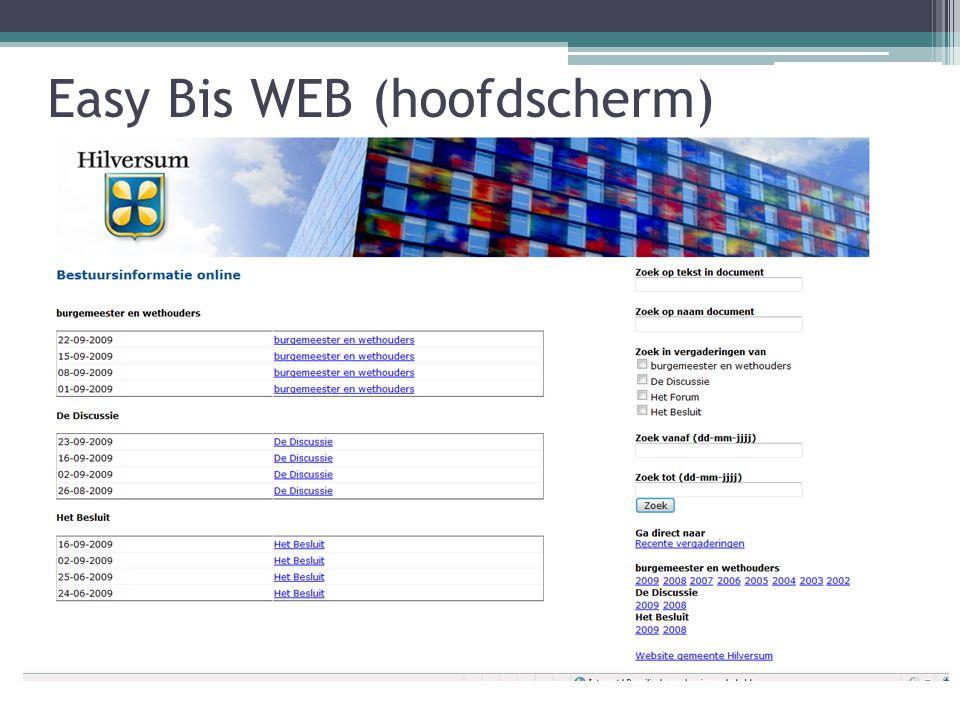 Easy Bis WEB (hoofdscherm)