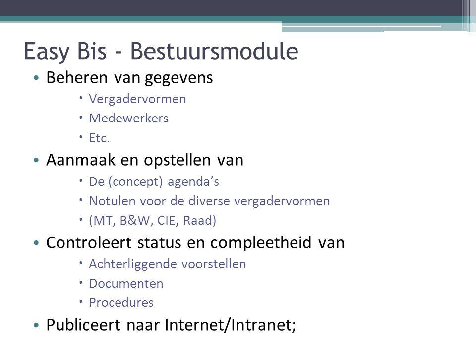 Easy Bis - Bestuursmodule Beheren van gegevens  Vergadervormen  Medewerkers  Etc.