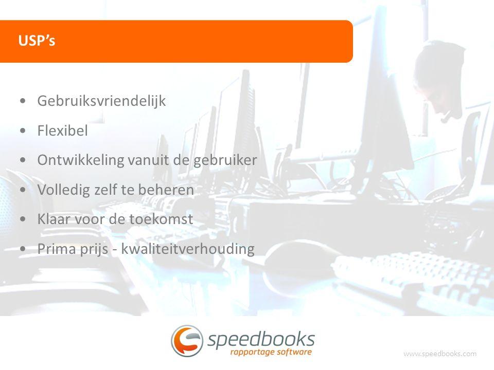 USP's www.speedbooks.com Gebruiksvriendelijk Flexibel Ontwikkeling vanuit de gebruiker Volledig zelf te beheren Klaar voor de toekomst Prima prijs - k