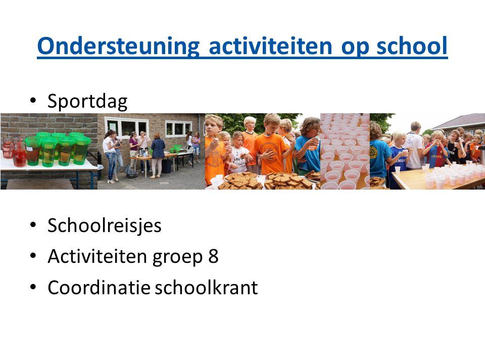 Ondersteuning activiteiten op school Sportdag Schoolreisjes Activiteiten groep 8 Coordinatie schoolkrant