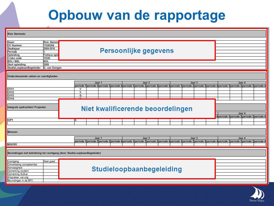 Opbouw van de rapportage Sectie 1: persoonlijke gegevens o.a.