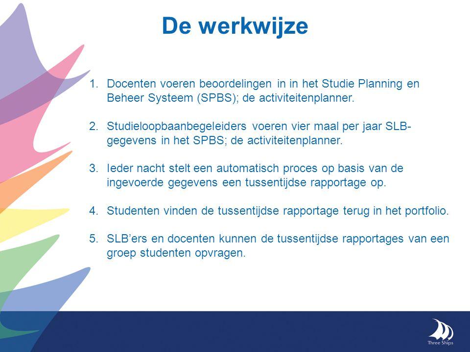 De werkwijze 1.Docenten voeren beoordelingen in in het Studie Planning en Beheer Systeem (SPBS); de activiteitenplanner.