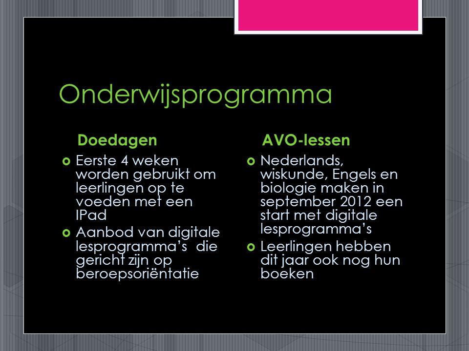 Onderwijsprogramma Doedagen  Eerste 4 weken worden gebruikt om leerlingen op te voeden met een IPad  Aanbod van digitale lesprogramma's die gericht zijn op beroepsoriëntatie AVO-lessen  Nederlands, wiskunde, Engels en biologie maken in september 2012 een start met digitale lesprogramma's  Leerlingen hebben dit jaar ook nog hun boeken