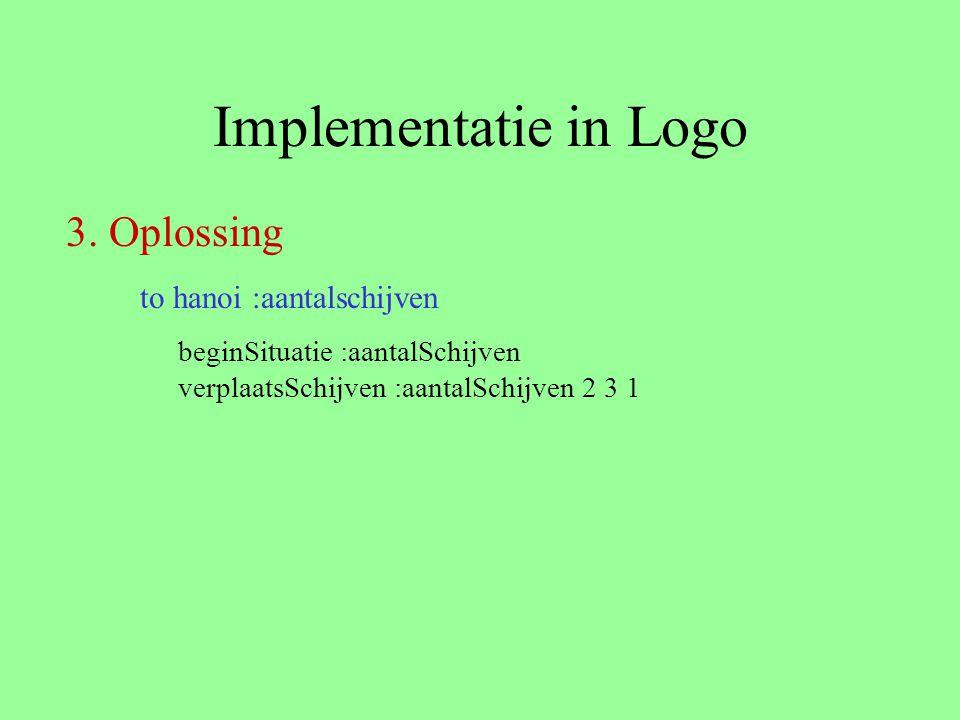 Implementatie in Logo beginSituatie :aantalSchijven verplaatsSchijven :aantalSchijven 2 3 1 to hanoi :aantalschijven 3. Oplossing