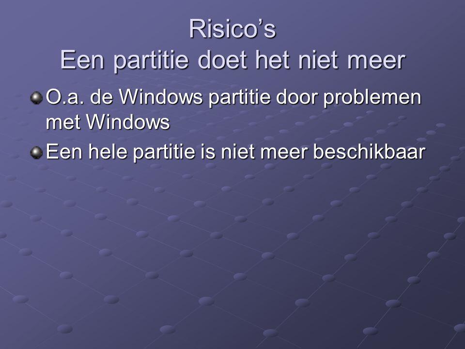 Risico's Een partitie doet het niet meer O.a. de Windows partitie door problemen met Windows Een hele partitie is niet meer beschikbaar