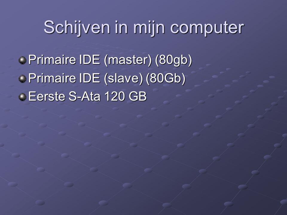 Schijven in mijn computer Primaire IDE (master) (80gb) Primaire IDE (slave) (80Gb) Eerste S-Ata 120 GB