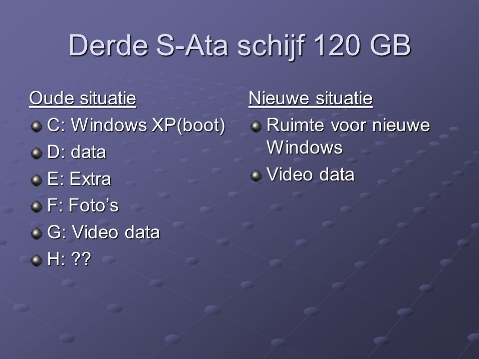 Derde S-Ata schijf 120 GB Oude situatie C: Windows XP(boot) D: data E: Extra F: Foto's G: Video data H: .