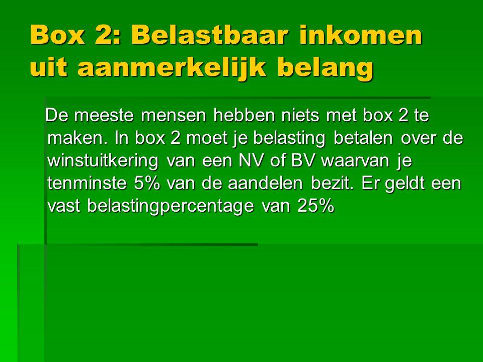Box 2: Belastbaar inkomen uit aanmerkelijk belang De meeste mensen hebben niets met box 2 te maken.