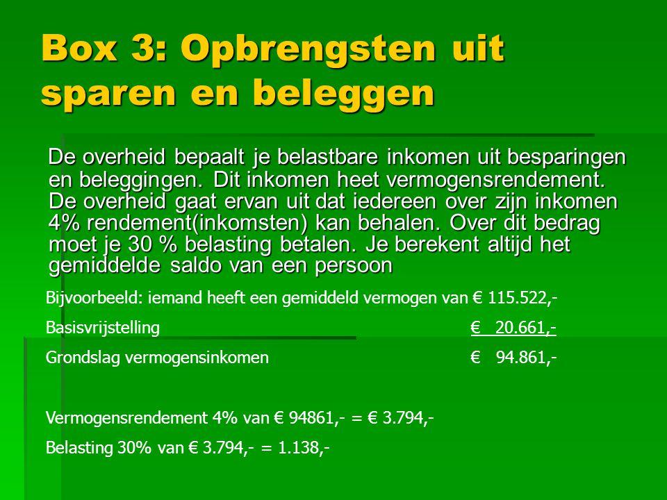 Box 3: Opbrengsten uit sparen en beleggen De overheid bepaalt je belastbare inkomen uit besparingen en beleggingen.