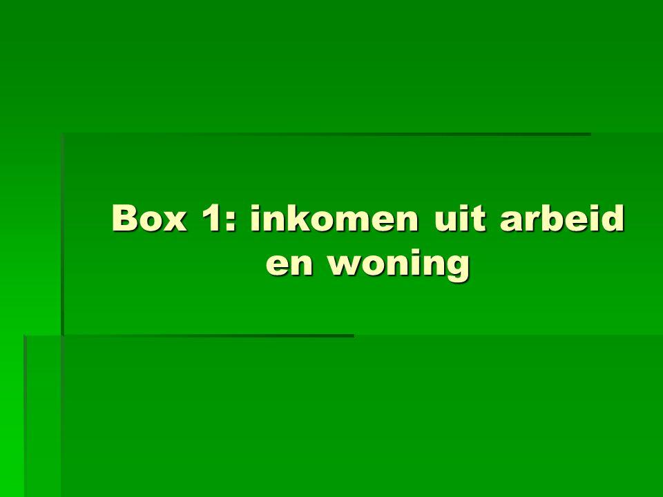 Box 1: inkomen uit arbeid en woning