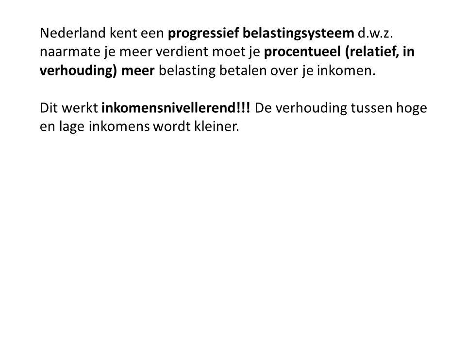 Nederland kent een progressief belastingsysteem d.w.z. naarmate je meer verdient moet je procentueel (relatief, in verhouding) meer belasting betalen