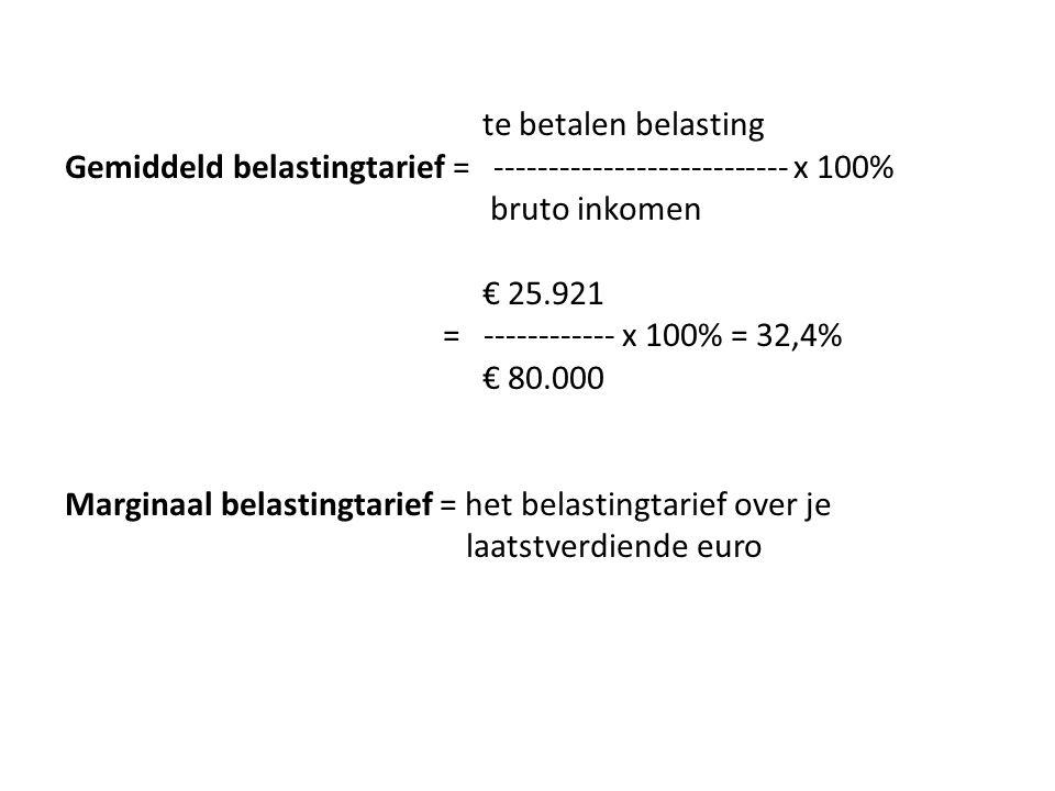 te betalen belasting Gemiddeld belastingtarief = --------------------------- x 100% bruto inkomen € 25.921 = ------------ x 100% = 32,4% € 80.000 Marginaal belastingtarief = het belastingtarief over je laatstverdiende euro