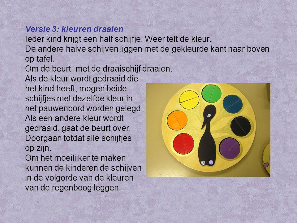 Versie 3: kleuren draaien Ieder kind krijgt een half schijfje.