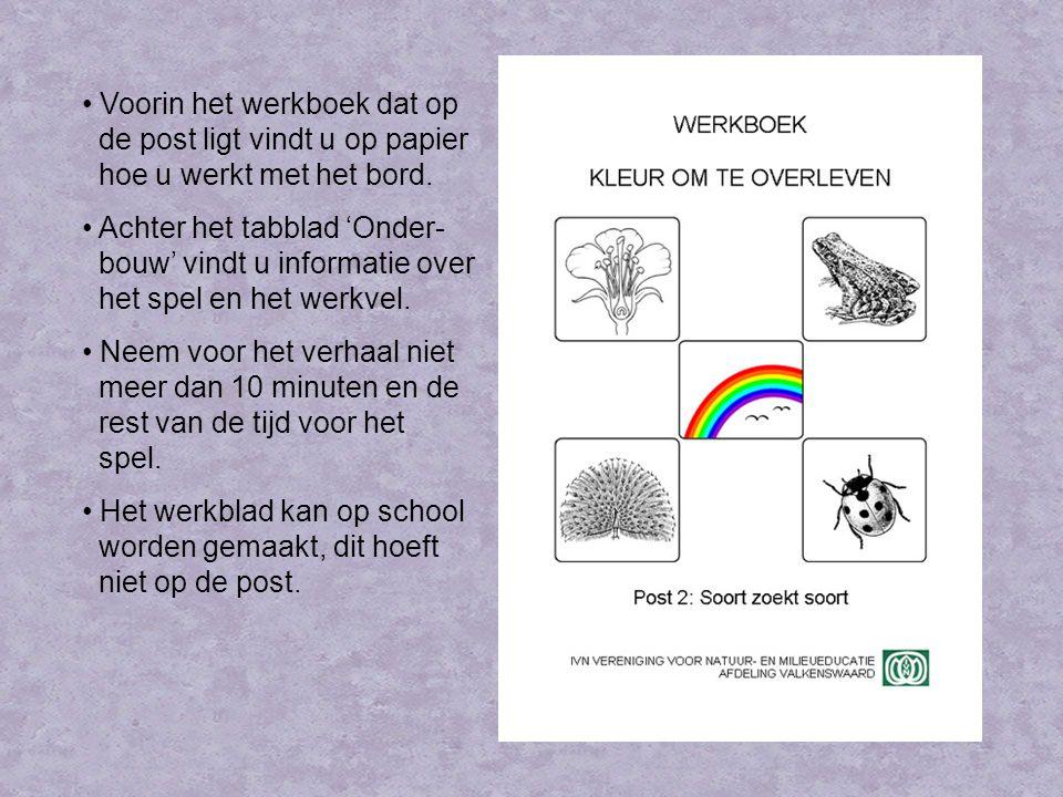 Verhaal Op de post willen we de kinderen duidelijk maken dat kleur bij de communicatie tussen soortgenoten veel functies heeft: Om soortgenoten te herkennen.