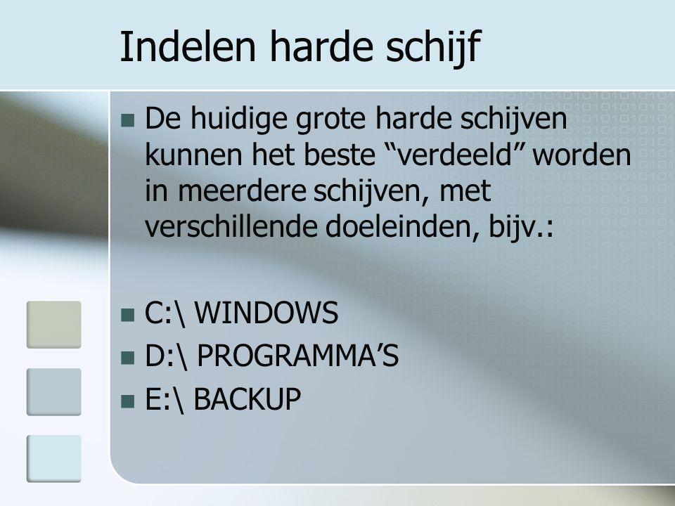 C:\WINDOWS Het C schijfgedeelte is uitsluitend gereserveerd voor: Besturingsprogramma (Windows) Kantoorprogramma's (Office) Beveiligingssoftware (Anti-virus; Anti- Spyware, etc.) Alle verdere systeemgerelateerde software Belangrijke map: Programm Files