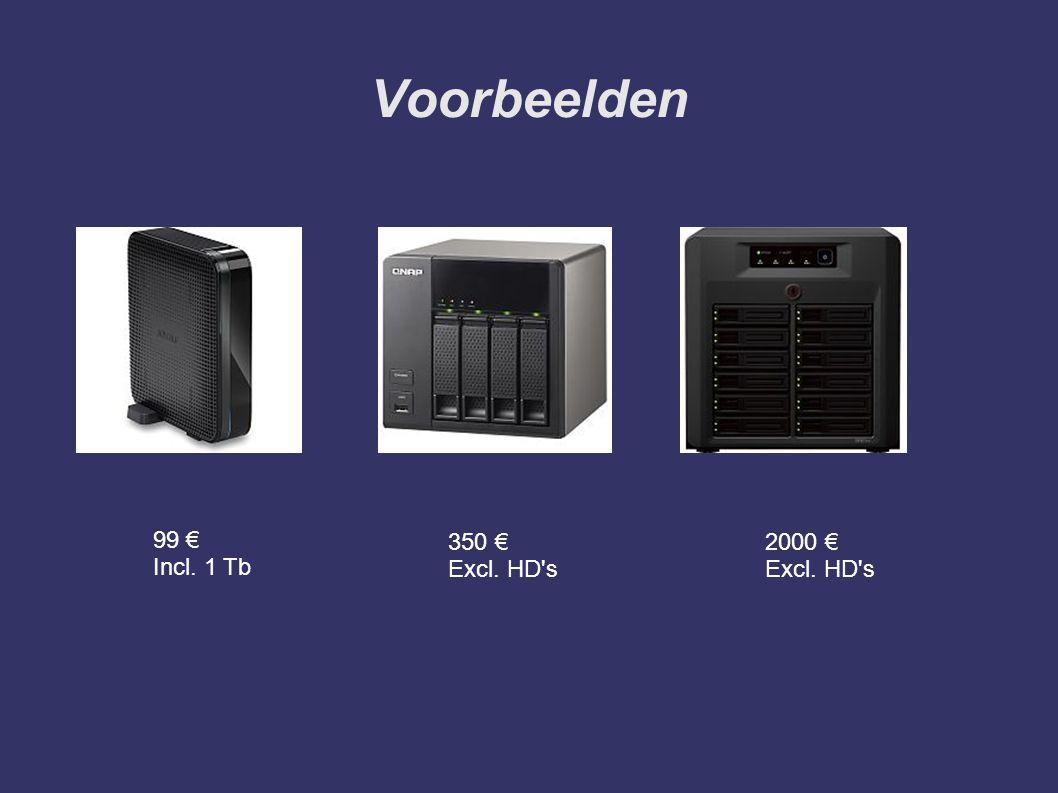 Voorbeelden 99 € Incl. 1 Tb 350 € Excl. HD s 2000 € Excl. HD s