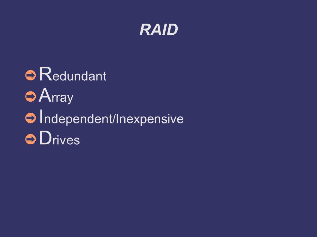 RAID ➲ R edundant ➲ A rray ➲ I ndependent/Inexpensive ➲ D rives