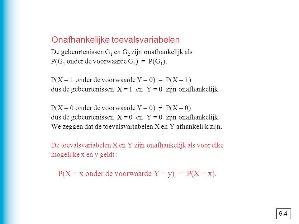 De gebeurtenissen G 1 en G 2 zijn onafhankelijk als P(G 1 onder de voorwaarde G 2 ) = P(G 1 ). P(X = 1 onder de voorwaarde Y = 0) = P(X = 1) dus de ge