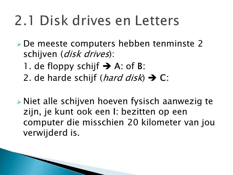  De meeste computers hebben tenminste 2 schijven (disk drives): 1. de floppy schijf  A: of B: 2. de harde schijf (hard disk)  C:  Niet alle schijv