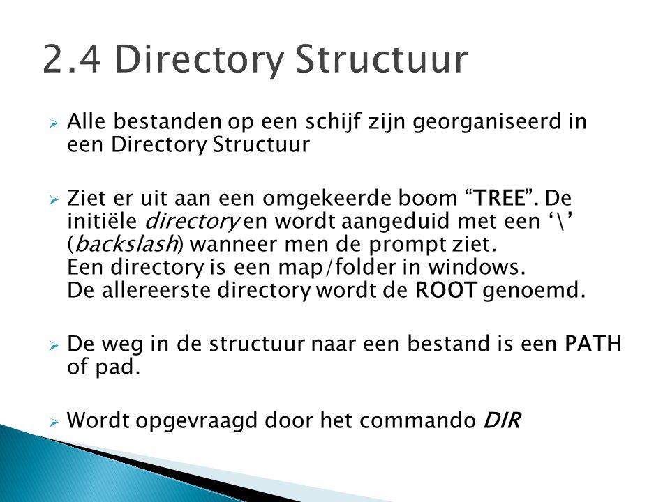 """ Alle bestanden op een schijf zijn georganiseerd in een Directory Structuur  Ziet er uit aan een omgekeerde boom """"TREE"""". De initiële directory en wo"""