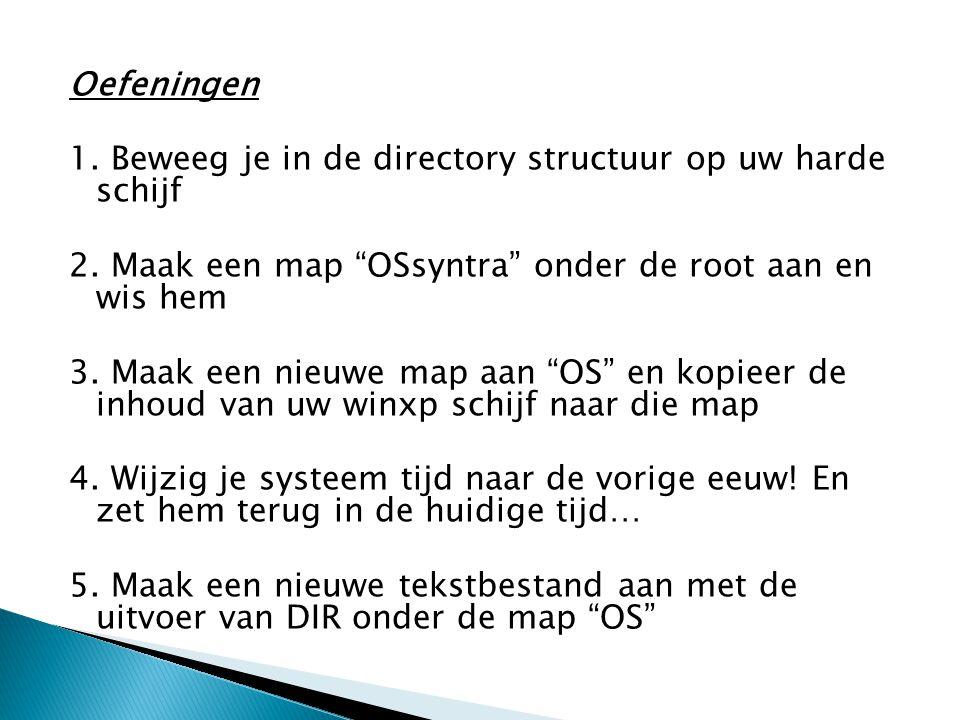 """Oefeningen 1. Beweeg je in de directory structuur op uw harde schijf 2. Maak een map """"OSsyntra"""" onder de root aan en wis hem 3. Maak een nieuwe map aa"""