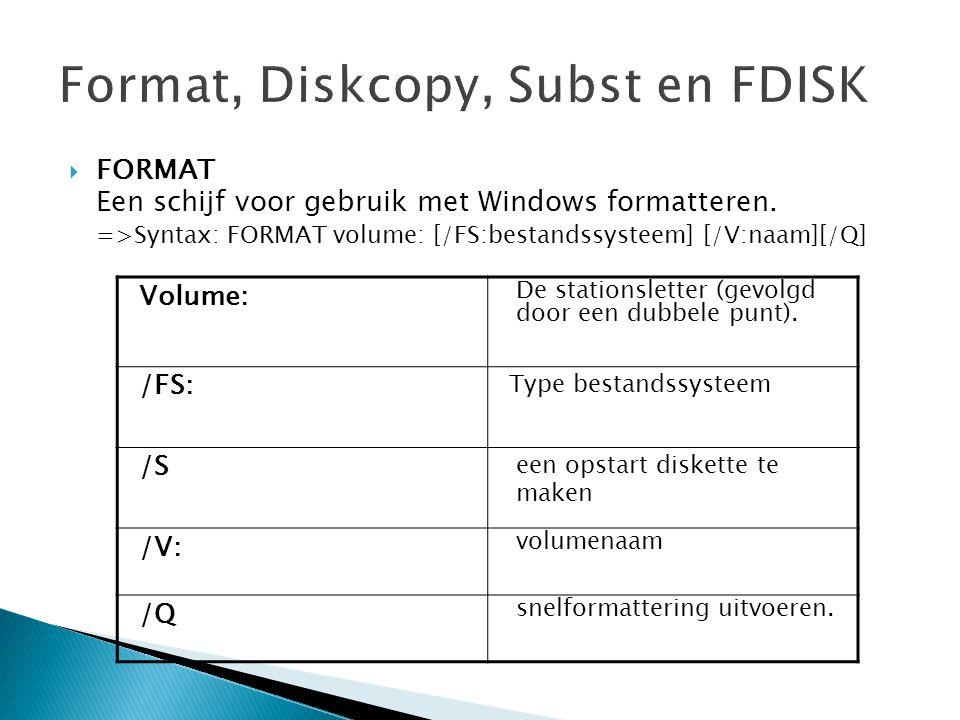  FORMAT Een schijf voor gebruik met Windows formatteren. =>Syntax: FORMAT volume: [/FS:bestandssysteem] [/V:naam][/Q] Volume: De stationsletter (gevo