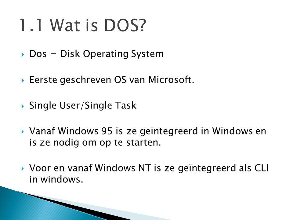  Dos is de CLI interface van Windows.