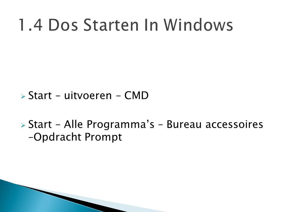  Start – uitvoeren – CMD  Start – Alle Programma's – Bureau accessoires –Opdracht Prompt