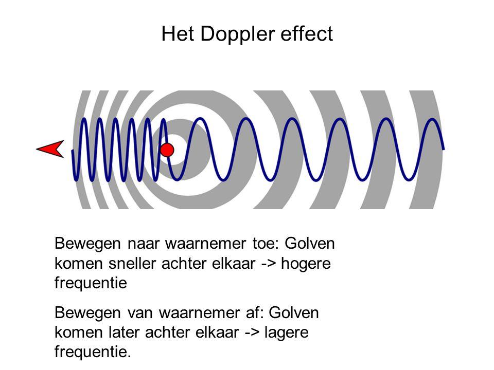 Het Doppler effect Bewegen naar waarnemer toe: Golven komen sneller achter elkaar -> hogere frequentie Bewegen van waarnemer af: Golven komen later achter elkaar -> lagere frequentie.