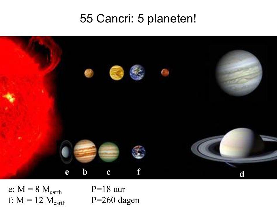 55 Cancri: 5 planeten! bc d ef e: M = 8 M earth P=18 uur f: M = 12 M earth P=260 dagen