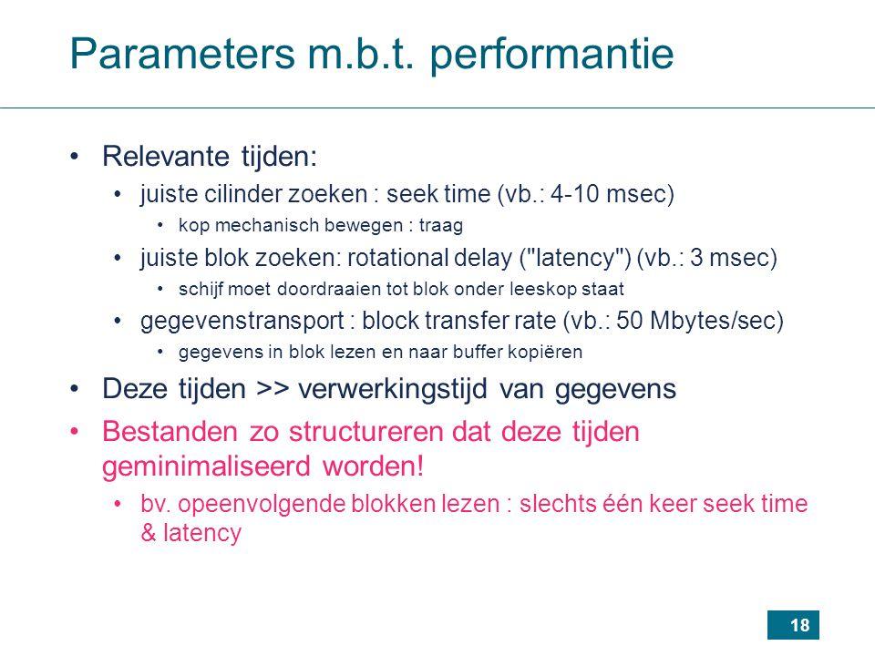 18 Parameters m.b.t. performantie Relevante tijden: juiste cilinder zoeken : seek time (vb.: 4-10 msec) kop mechanisch bewegen : traag juiste blok zoe