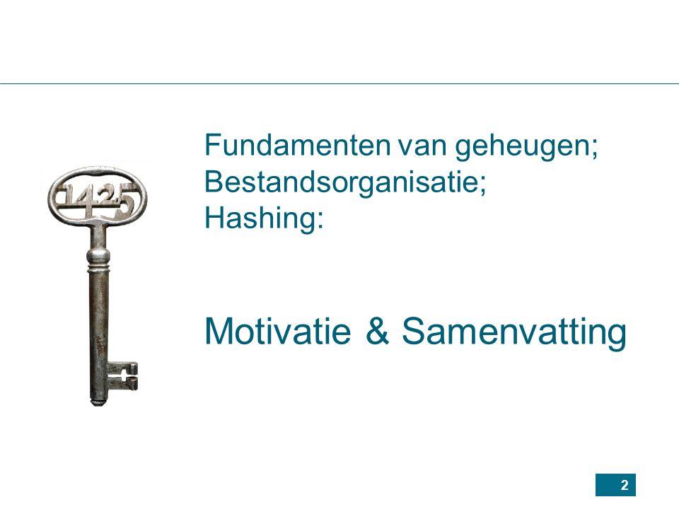 2 Fundamenten van geheugen; Bestandsorganisatie; Hashing: Motivatie & Samenvatting