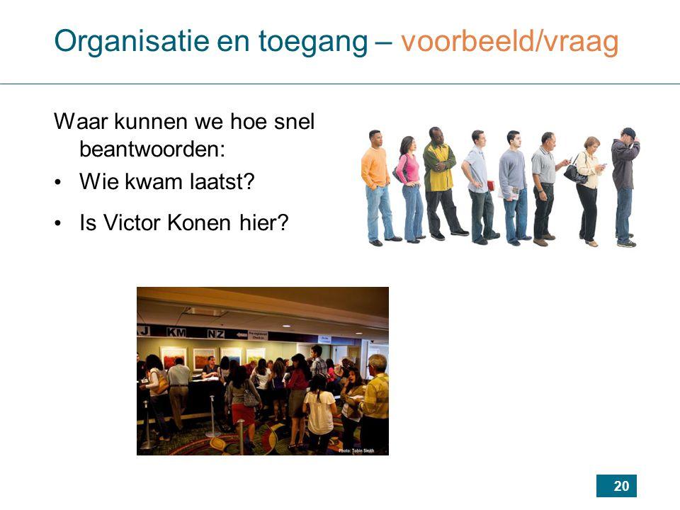 20 Organisatie en toegang – voorbeeld/vraag Waar kunnen we hoe snel beantwoorden: Wie kwam laatst? Is Victor Konen hier?