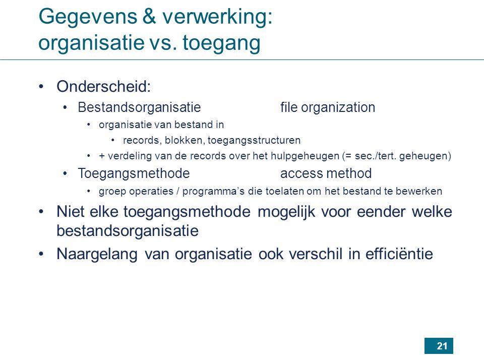 21 Gegevens & verwerking: organisatie vs. toegang Onderscheid: Bestandsorganisatiefile organization organisatie van bestand in records, blokken, toega