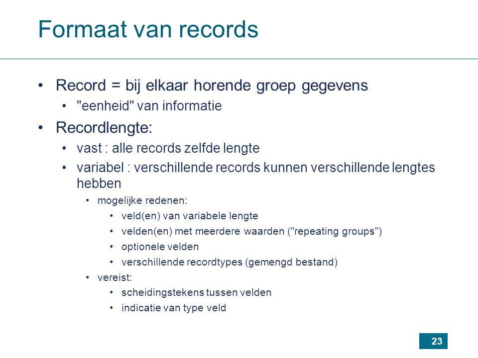 23 Formaat van records Record = bij elkaar horende groep gegevens