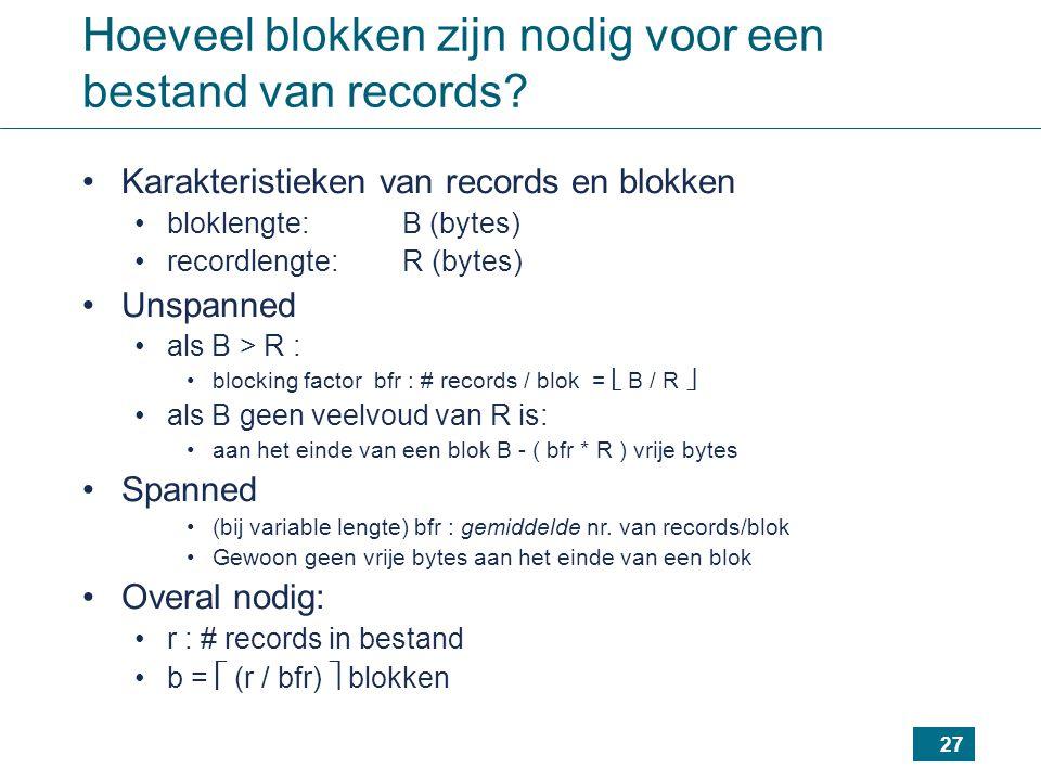 27 Hoeveel blokken zijn nodig voor een bestand van records? Karakteristieken van records en blokken bloklengte: B (bytes) recordlengte: R (bytes) Unsp